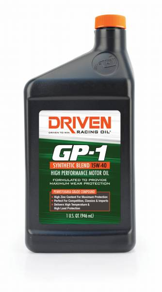 Driven Racing Oil LLC - Driven Racing Oil LLC GP1 15W-40 Synthetic Blend Racing Oil - 1 Quart Bottle